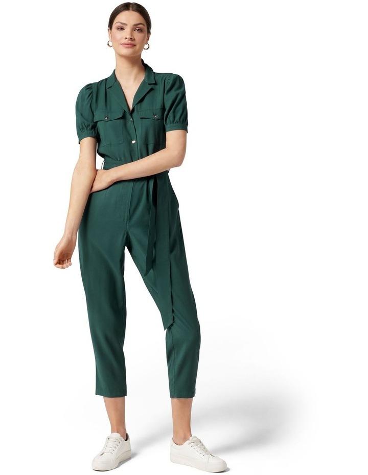 Zara Puff Sleeve Utility Jumpsuit Seaweed Green image 1