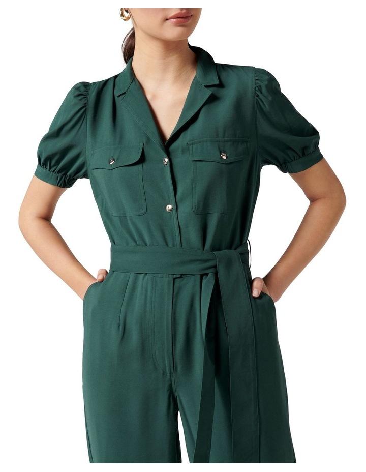 Zara Puff Sleeve Utility Jumpsuit Seaweed Green image 2