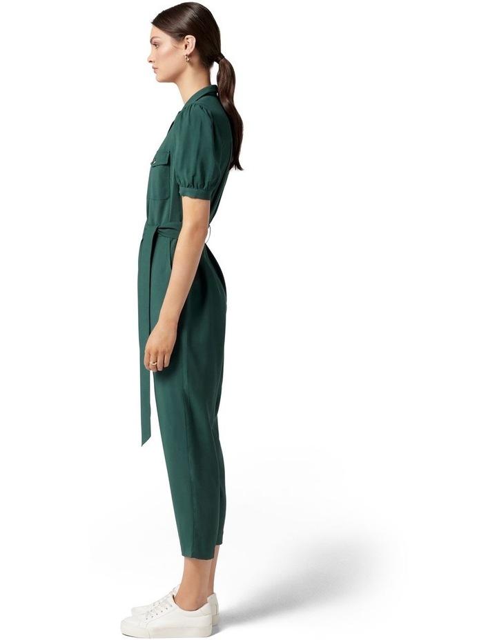 Zara Puff Sleeve Utility Jumpsuit Seaweed Green image 3
