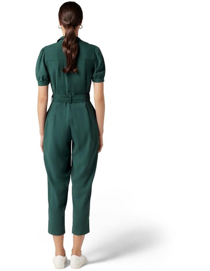 Zara Puff Sleeve Utility Jumpsuit Seaweed Green image 4