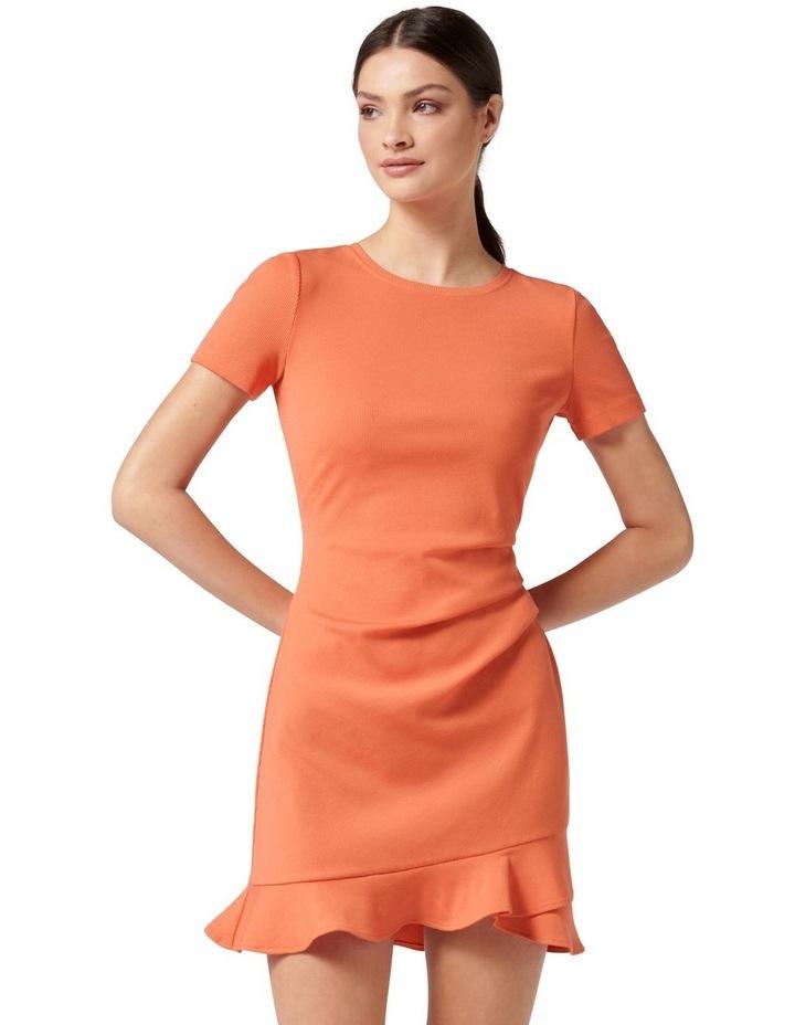 Annie Rib Short Sleeve Frill Dress Ginger image 1