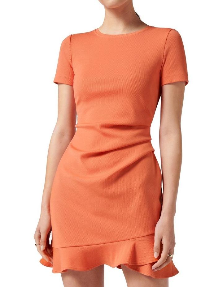 Annie Rib Short Sleeve Frill Dress Ginger image 2