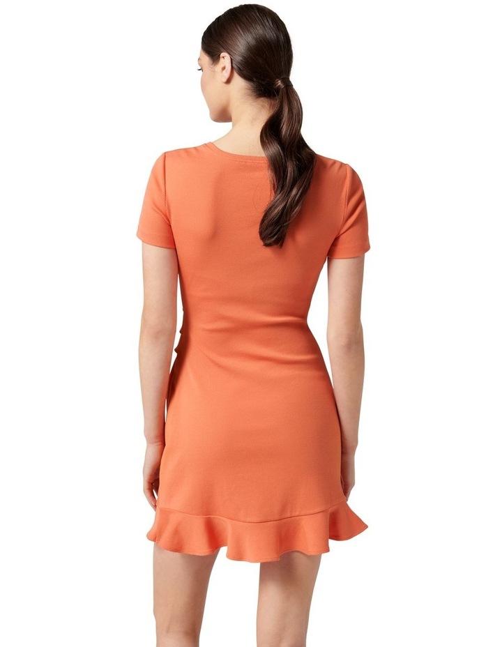 Annie Rib Short Sleeve Frill Dress Ginger image 4