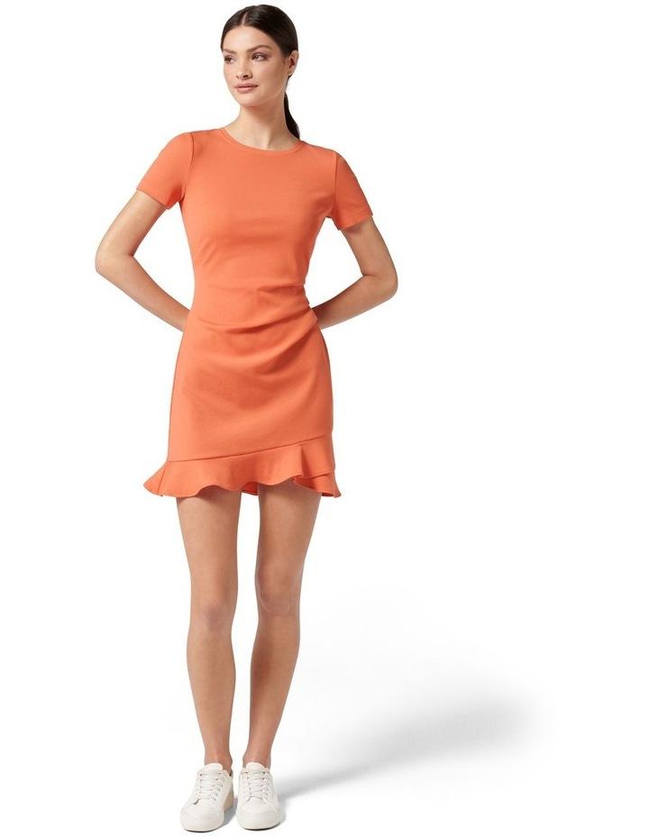 Annie Rib Short Sleeve Frill Dress Ginger image 5