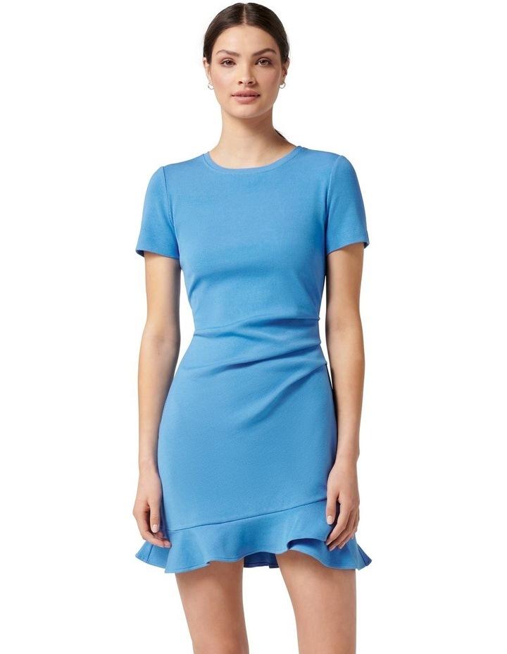 Annie Rib Short Sleeve Frill Dress True Blue image 1