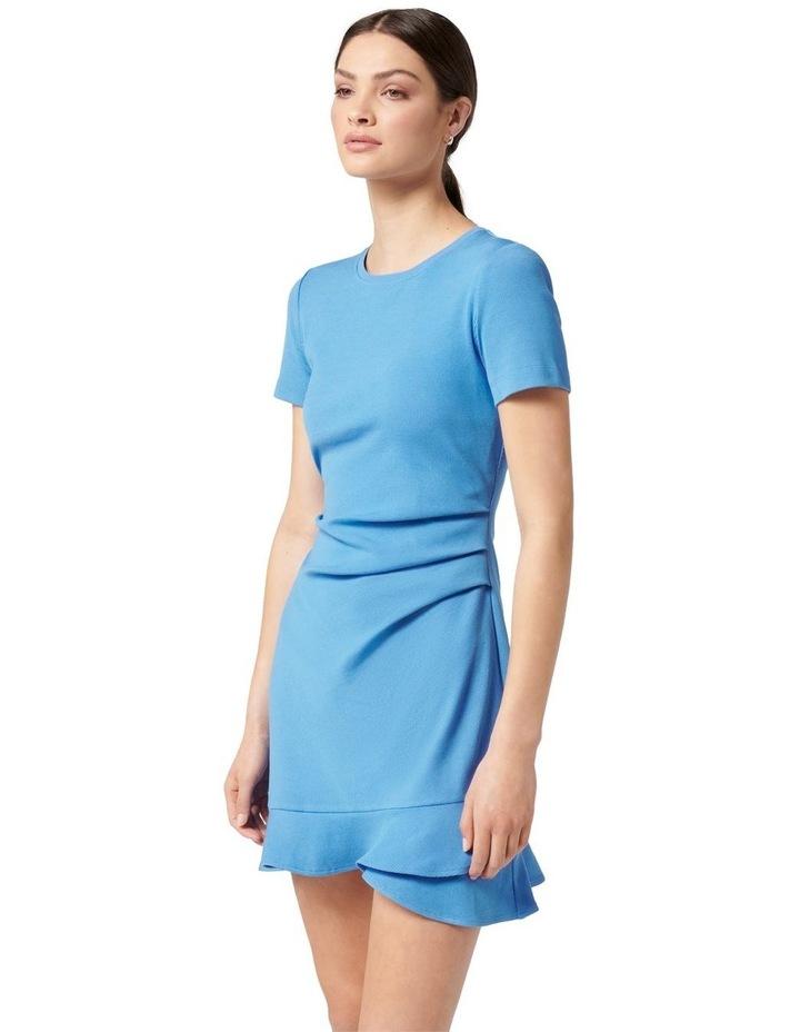 Annie Rib Short Sleeve Frill Dress True Blue image 3