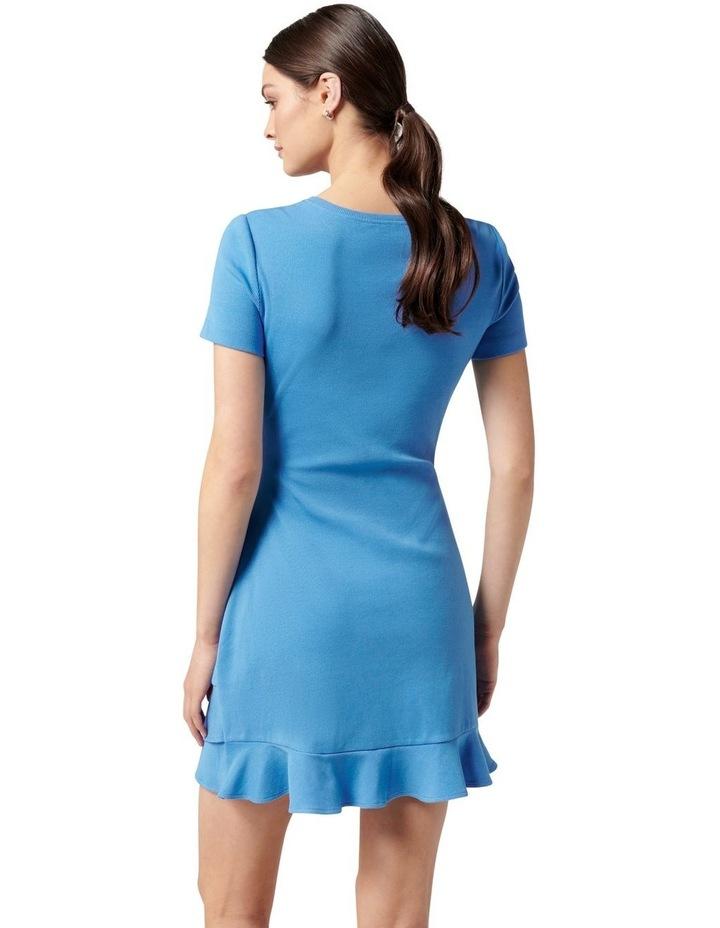 Annie Rib Short Sleeve Frill Dress True Blue image 4