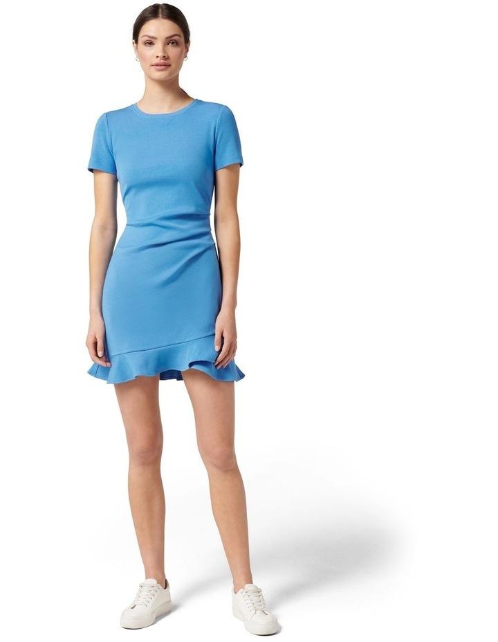 Annie Rib Short Sleeve Frill Dress True Blue image 5