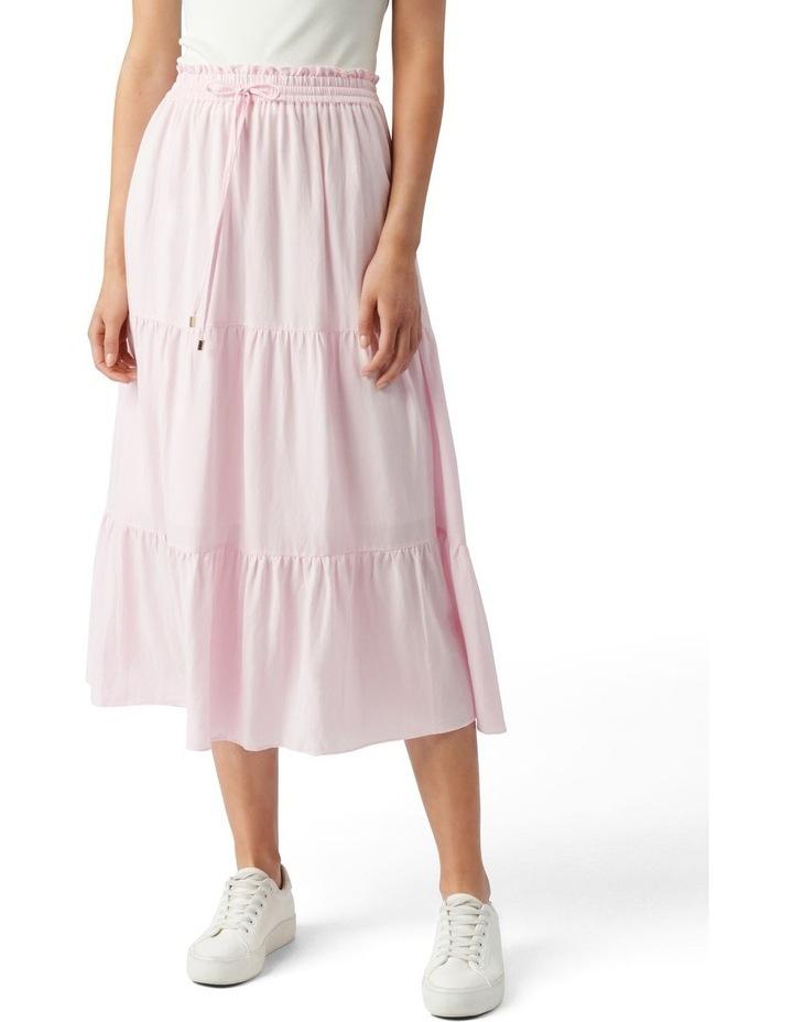 Teresa Tiered Linen Midi Skirt Plastic Pink image 1