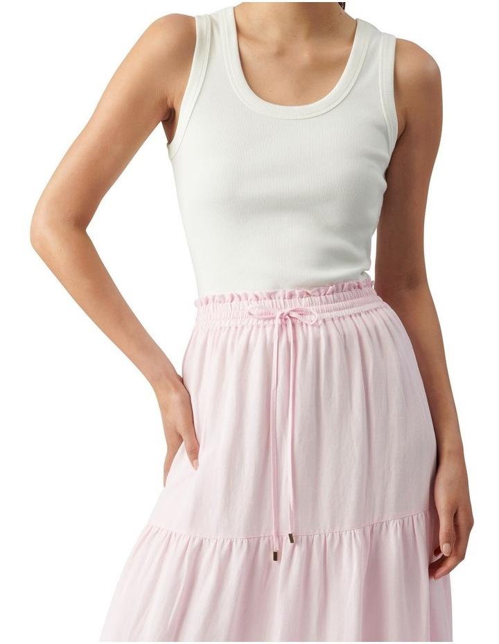 Teresa Tiered Linen Midi Skirt Plastic Pink image 2