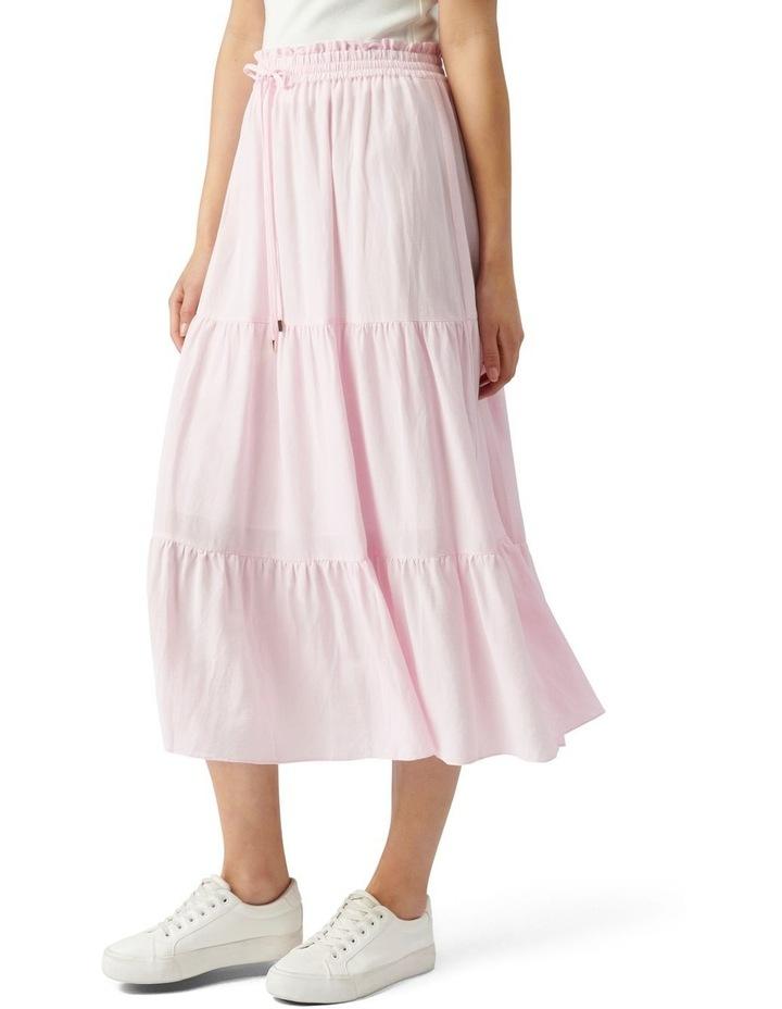 Teresa Tiered Linen Midi Skirt Plastic Pink image 3