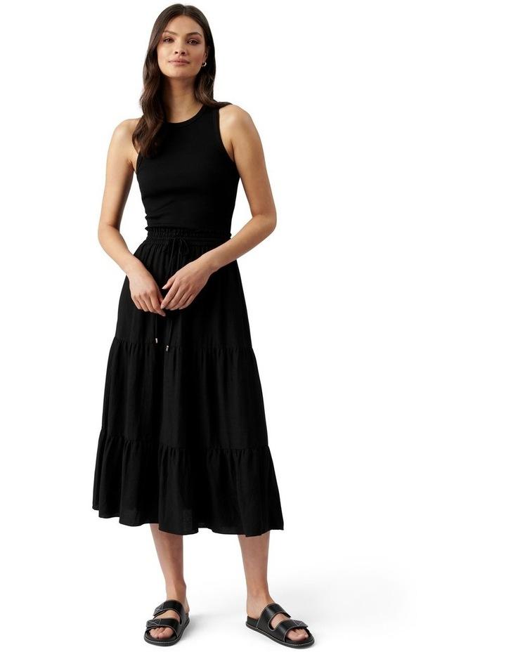 Teresa Tiered Linen Midi Skirt Black image 1