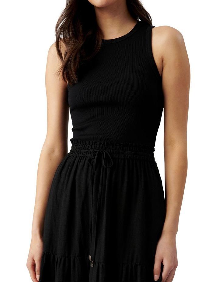 Teresa Tiered Linen Midi Skirt Black image 2