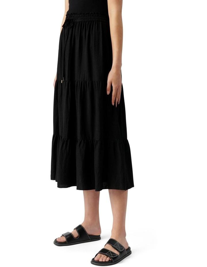 Teresa Tiered Linen Midi Skirt Black image 3