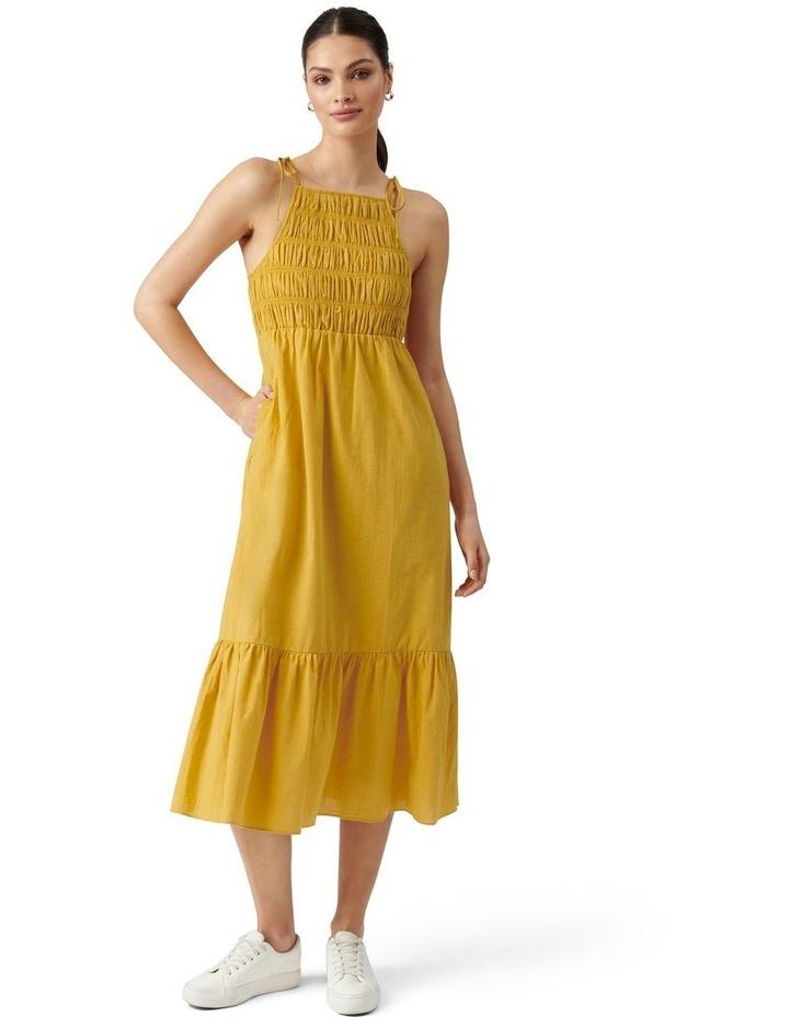 Brady Shirred Halter Midi Dress Golden Yellow image 1