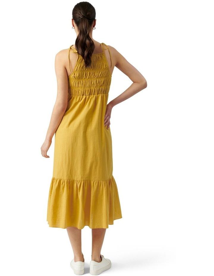 Brady Shirred Halter Midi Dress Golden Yellow image 3