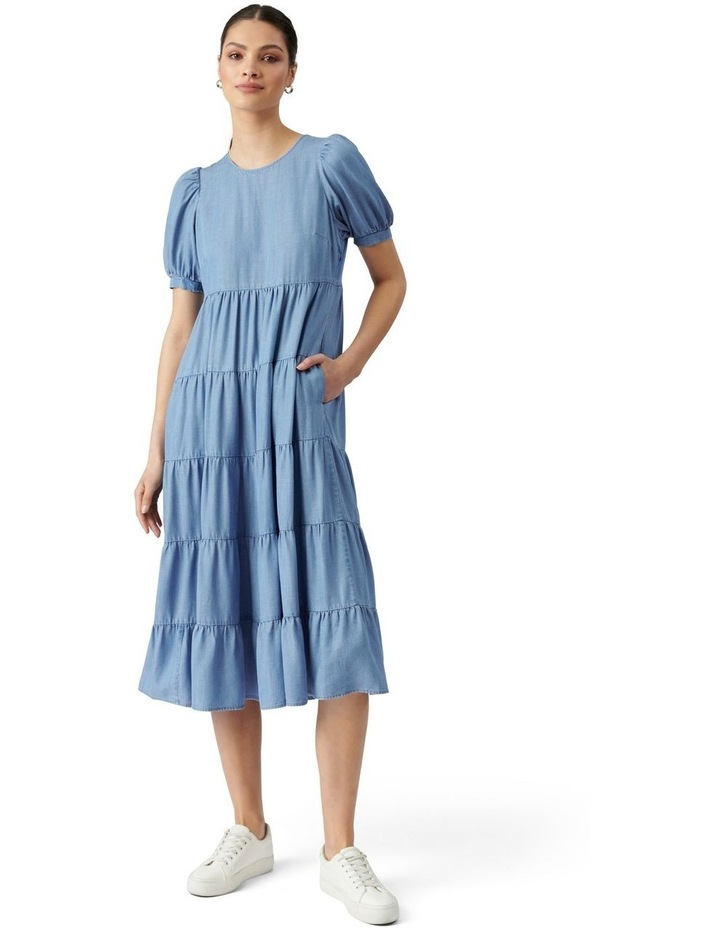 Pippa Denim Midi Smock Dress Mid Wash image 1