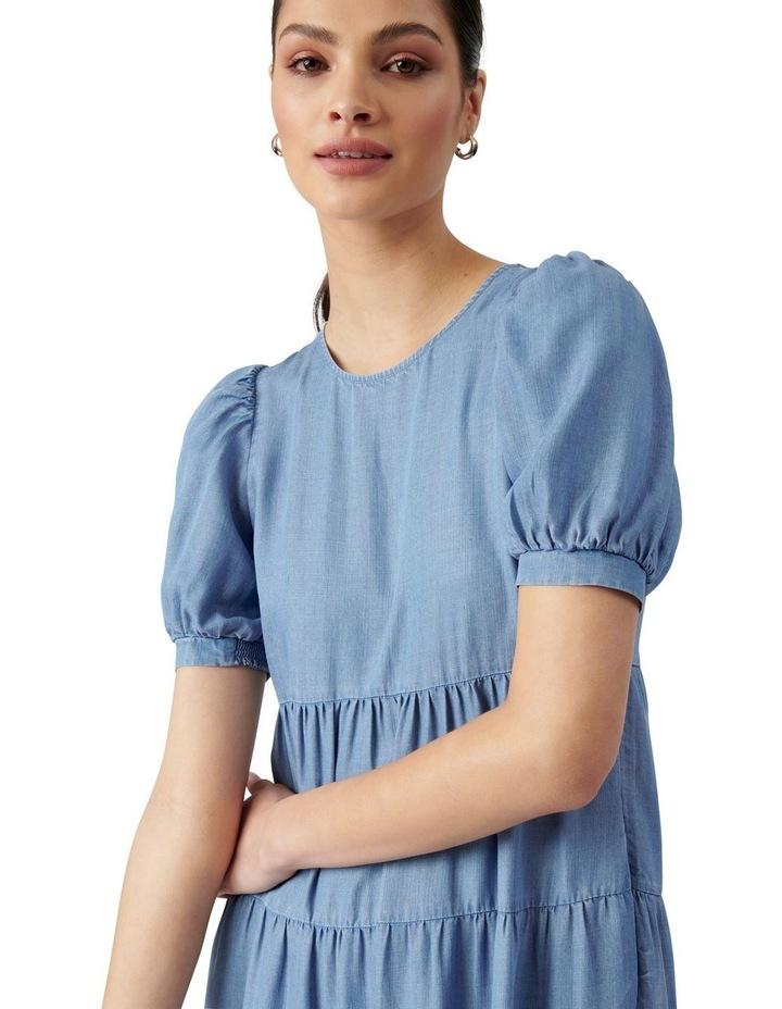Pippa Denim Midi Smock Dress Mid Wash image 2