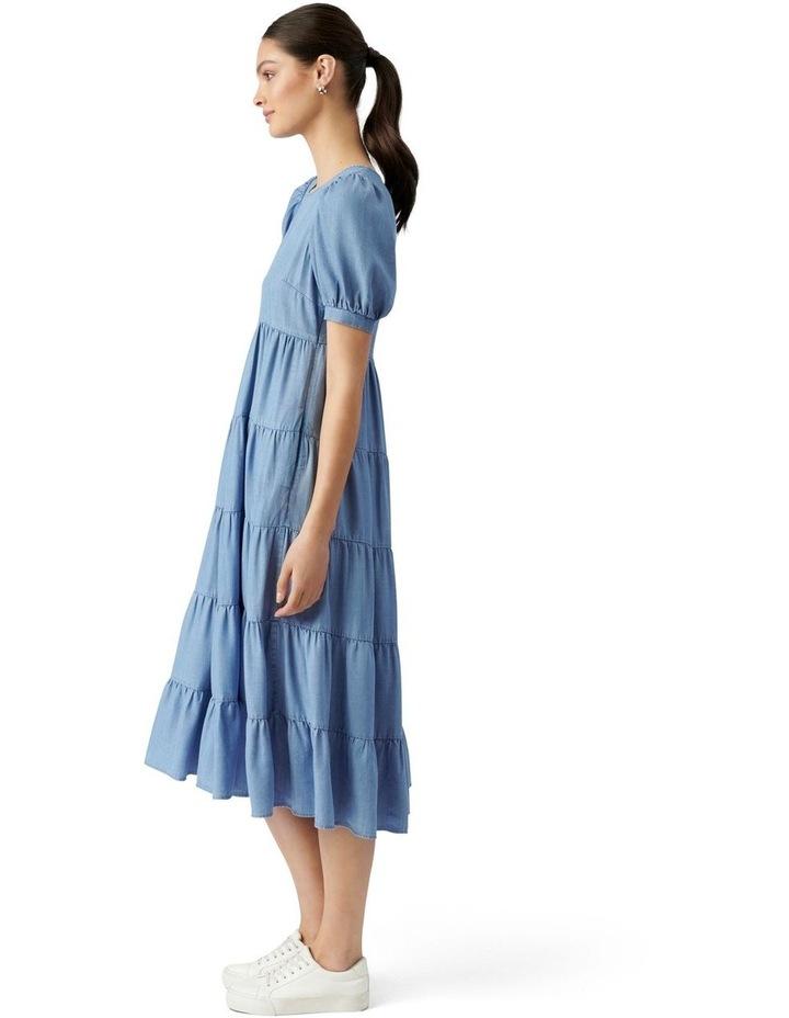 Pippa Denim Midi Smock Dress Mid Wash image 3