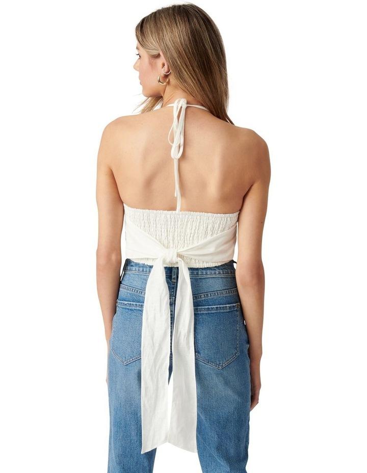 Alice Tie Back Shirred Halter Top Porcelain image 4