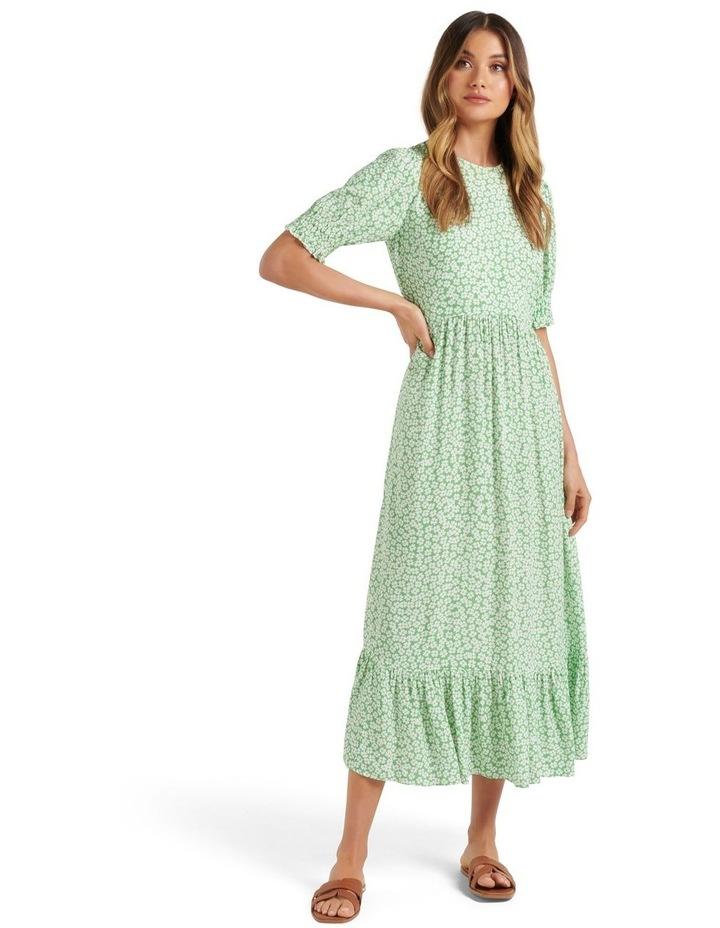 Louise Puff Sleeve Midi Dress Lime Retro Ditsy image 1