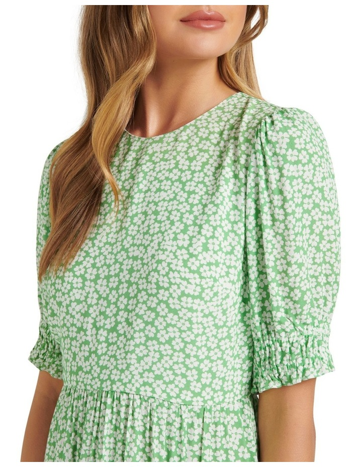 Louise Puff Sleeve Midi Dress Lime Retro Ditsy image 2