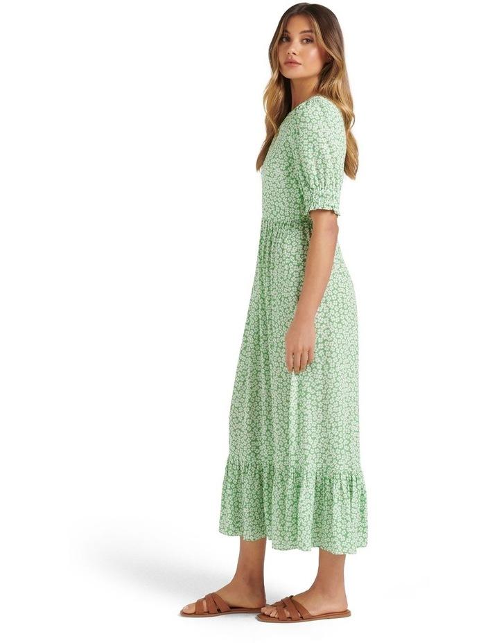 Louise Puff Sleeve Midi Dress Lime Retro Ditsy image 3
