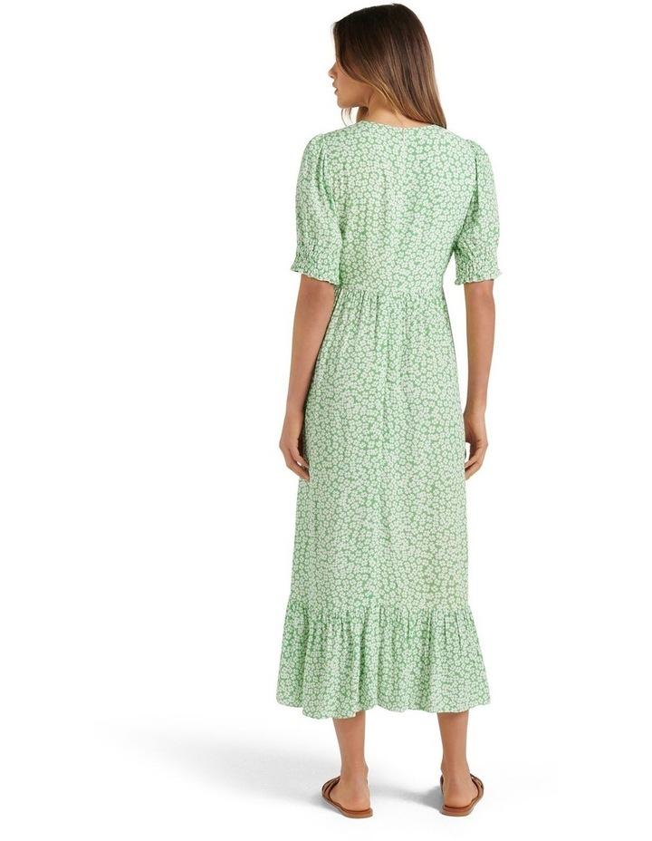 Louise Puff Sleeve Midi Dress Lime Retro Ditsy image 4