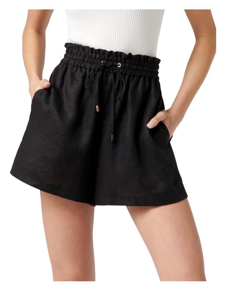 Allegra Drawstring Linen Short Black image 1