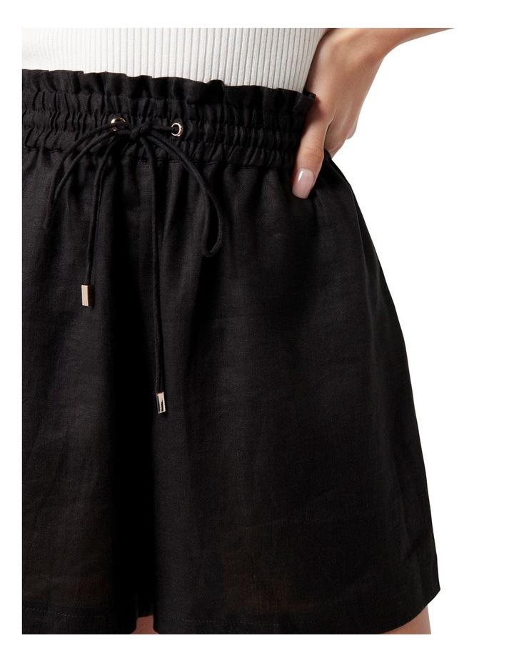 Allegra Drawstring Linen Short Black image 2