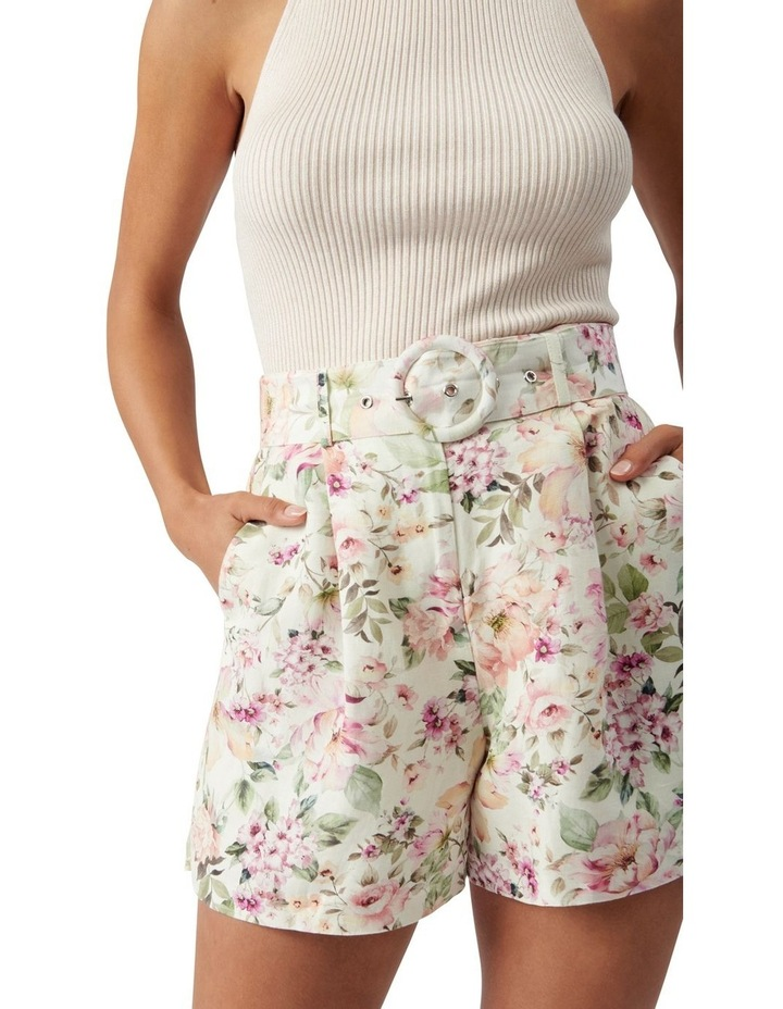 Clara Belted Linen Blend Shorts Mayfair Floral image 2