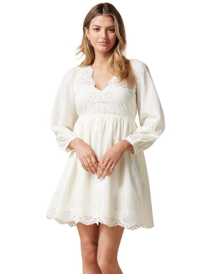 Esther Puff Sleeve Cutwork Dress Cream image 1