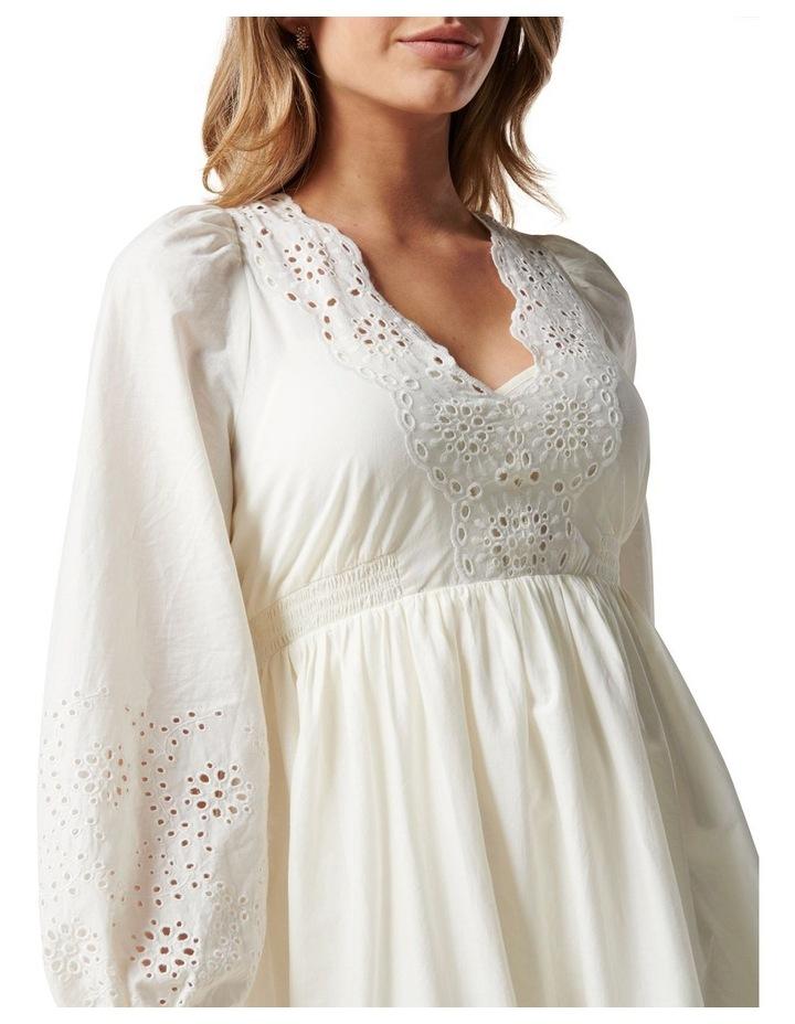 Esther Puff Sleeve Cutwork Dress Cream image 2