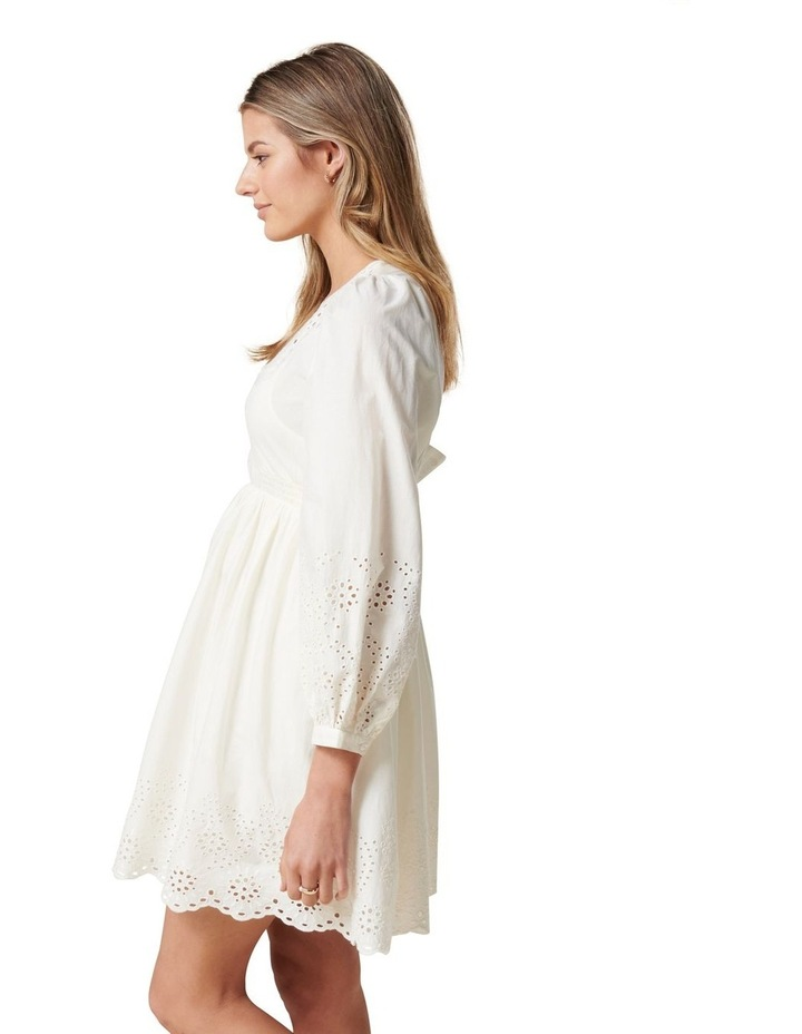 Esther Puff Sleeve Cutwork Dress Cream image 3