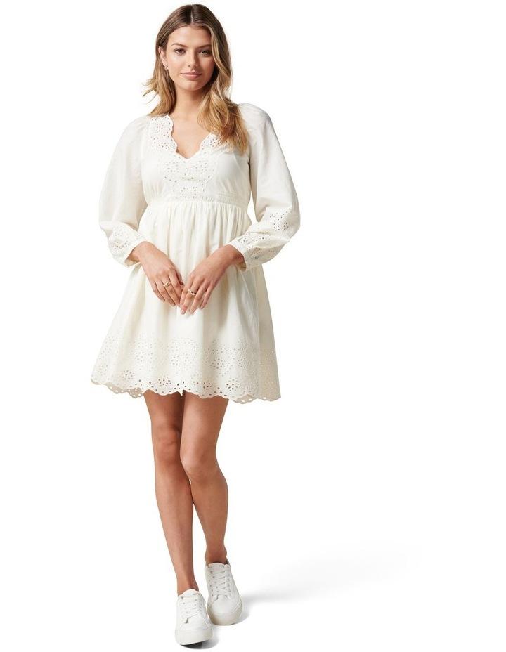 Esther Puff Sleeve Cutwork Dress Cream image 5