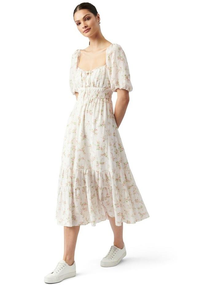 Josephine Tiered Midi Dress Apricot Blush Ditsy image 1