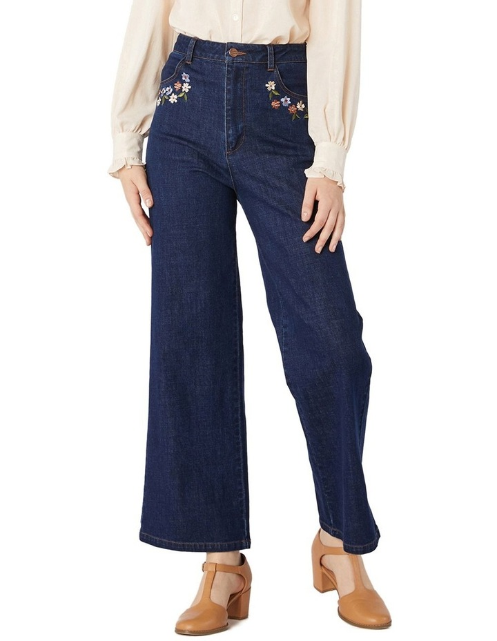 Flower Embroidered Jeans image 1