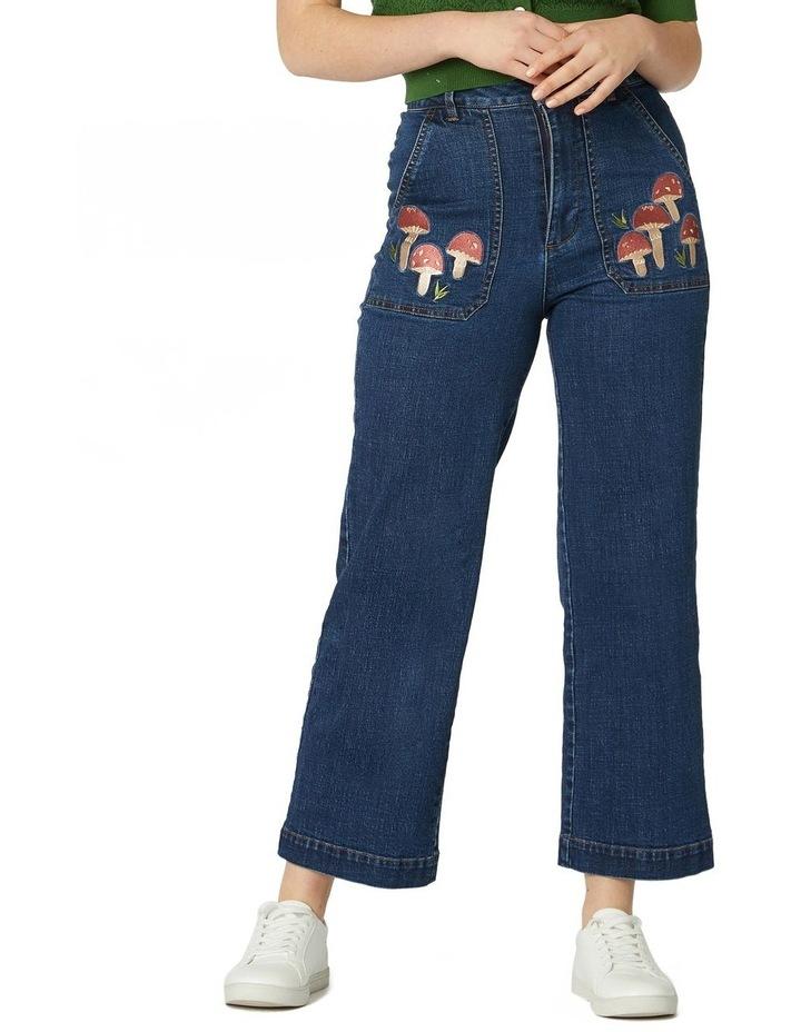 Mushroom Embroidered Jeans image 1