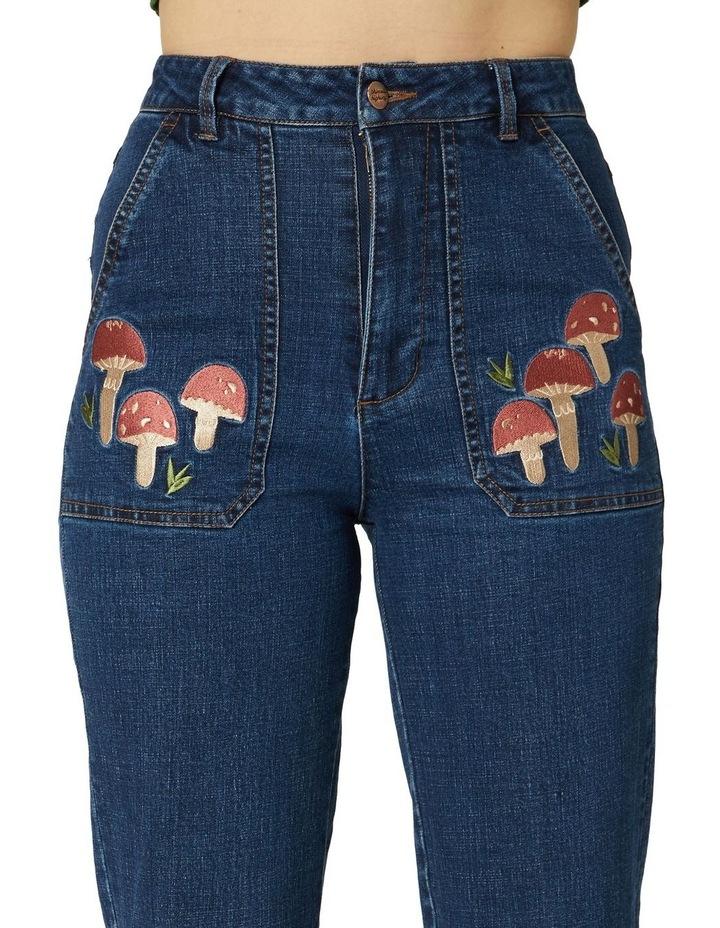 Mushroom Embroidered Jeans image 4