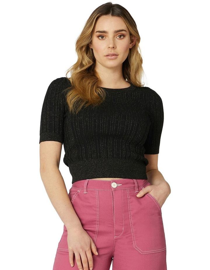 Harper Shimmer Fitted Knit Top Black image 1