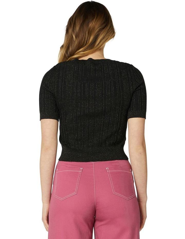Harper Shimmer Fitted Knit Top Black image 3