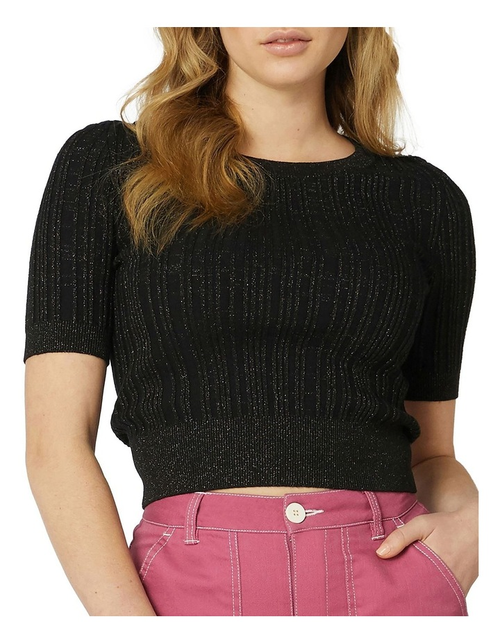 Harper Shimmer Fitted Knit Top Black image 4
