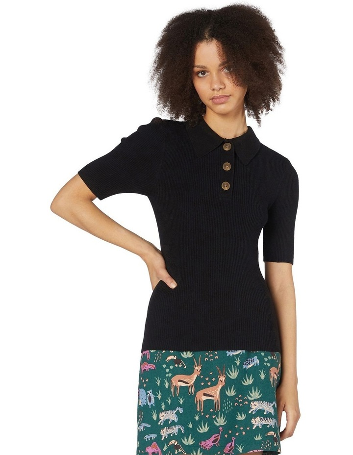 Flores Ribbed Knit Top Black image 1