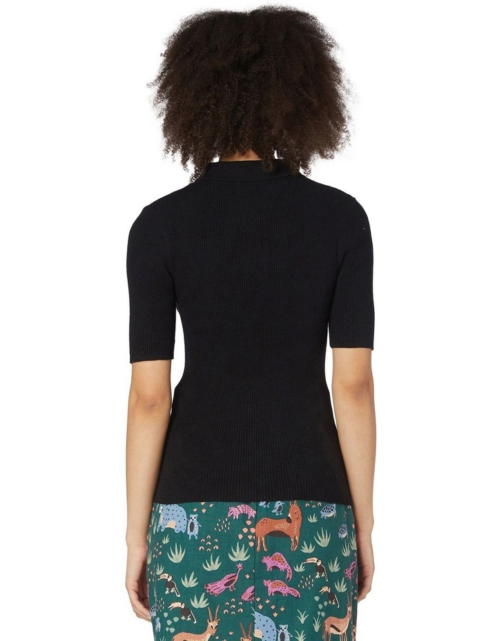 Flores Ribbed Knit Top Black image 3