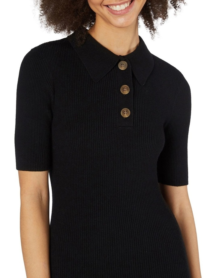 Flores Ribbed Knit Top Black image 4