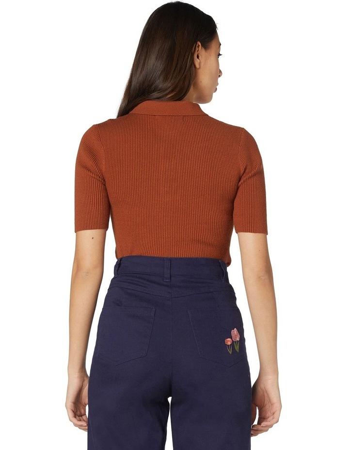 Flores Ribbed Knit Top Orange image 3