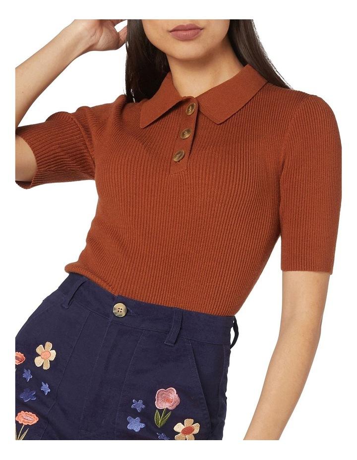 Flores Ribbed Knit Top Orange image 4
