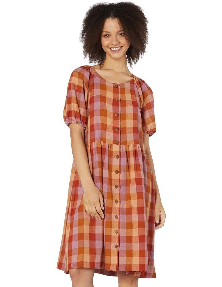 Prairie Check Smock Dress Orange image 1