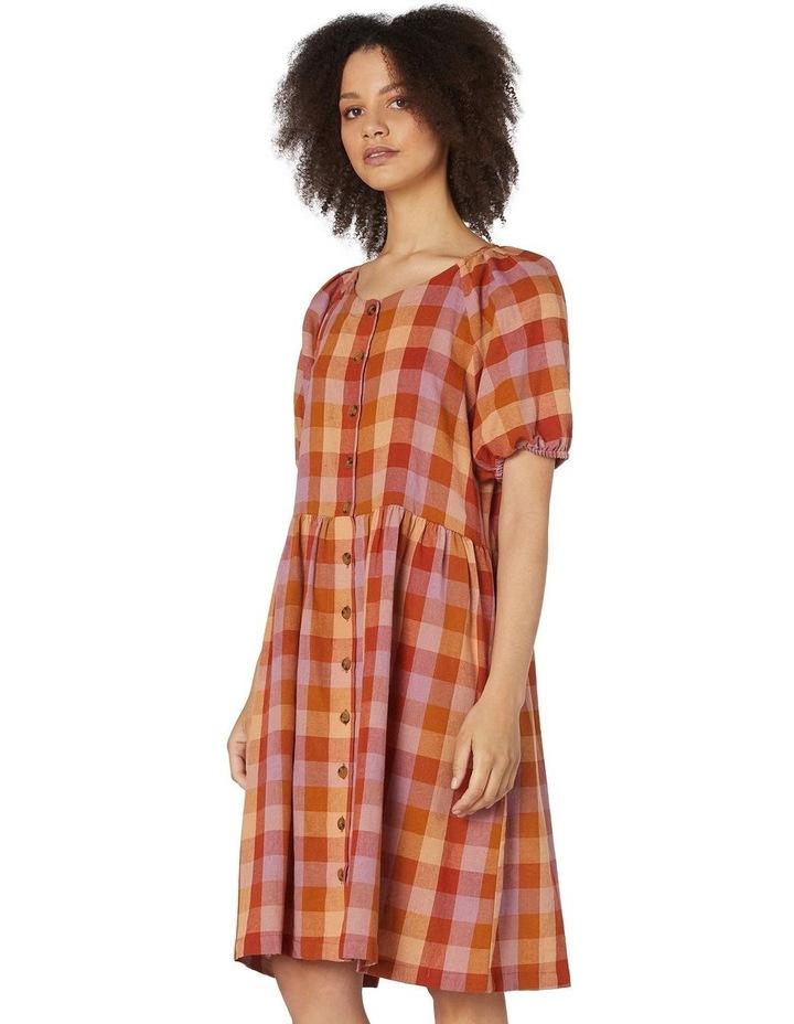 Prairie Check Smock Dress Orange image 2
