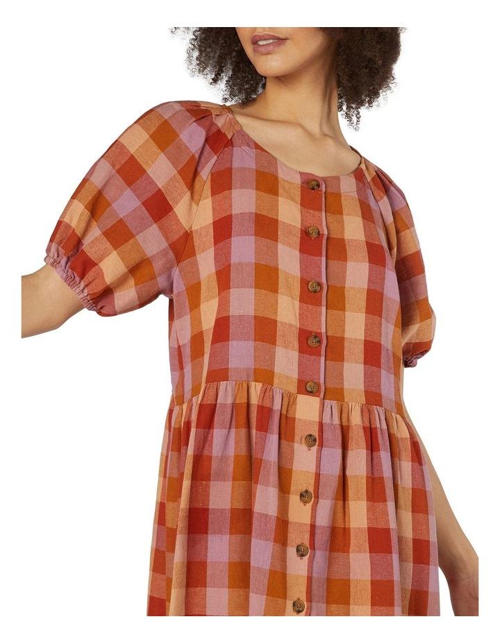 Prairie Check Smock Dress Orange image 4